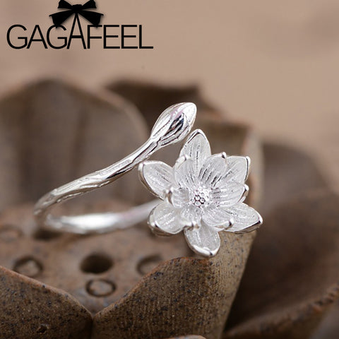 Resizable Vintage Style Flower Ring Pure 925 Sterling Silver Retro Lotus Floral Finger Rings For Women Jewelry