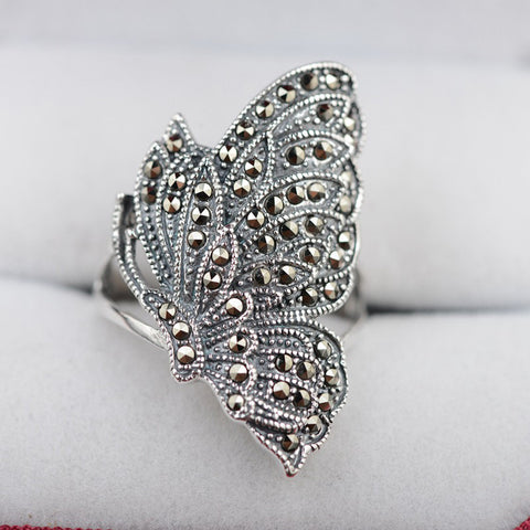 Vintage Style 925 Silver Rings Butterfly Shape MARCASITE New Fashion 100% S925 Solid Sterling Silver Ring for Women Men Jewelry