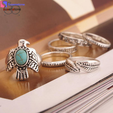 Vintage style, Silver Plated, Women Retro Fashion Alloy Joint Knuckle Nail Ring Set of Six Rings