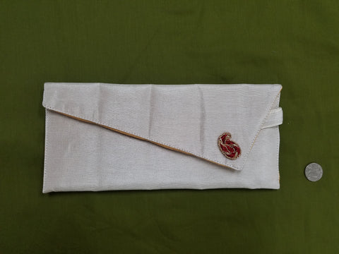 White Silk Clutch with Red Broach