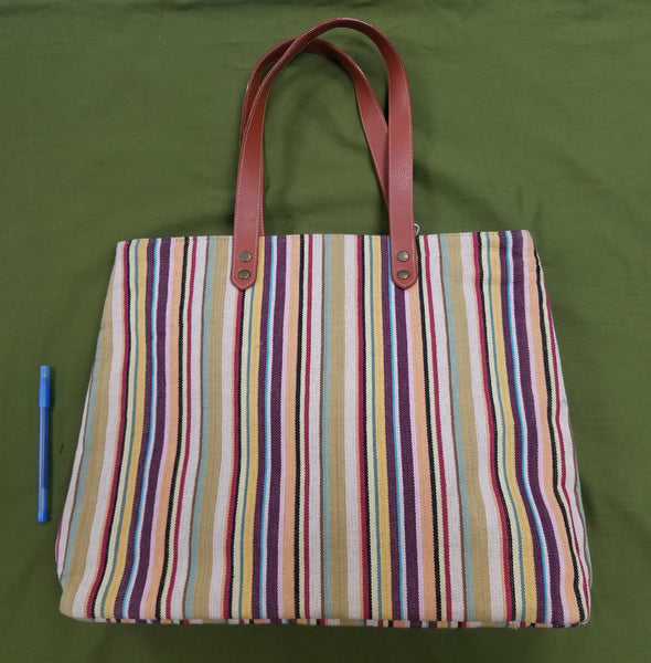 Multicolor Canvas Bag with Leather Handles