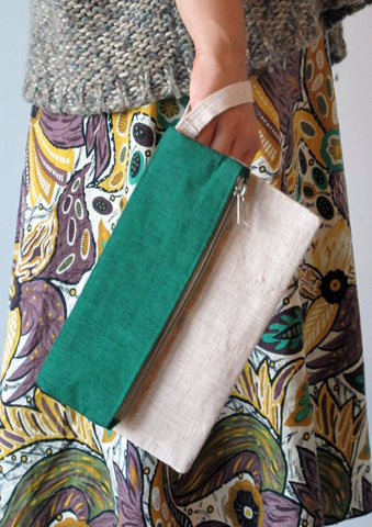 Fold Over Clutch - Emerald Green and Cream