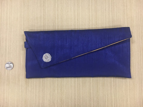 Blue Silk Clutch with White Broach