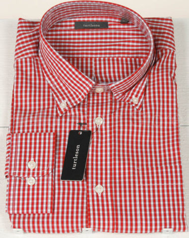 Men's Turtleson Red Button Down Check Shirt Size Large Retail $115