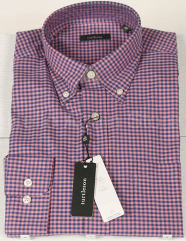 Men's Turtleson Pink Button Down Check Shirt Size Medium Retail $115