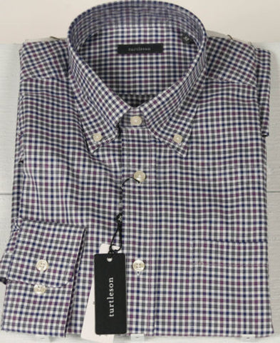 Men's Turtleson Purple Button Down Check Shirt Size Med Retail $115