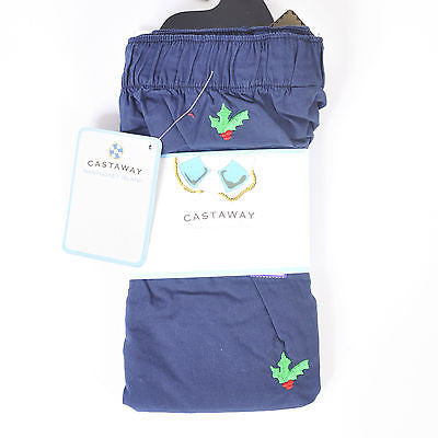 Men's Castaway Holiday Navy Cotton Boxers Size L (NWT)