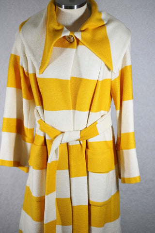 DVF Women's Yellow Stripe Coat Size 4 Retail $1000