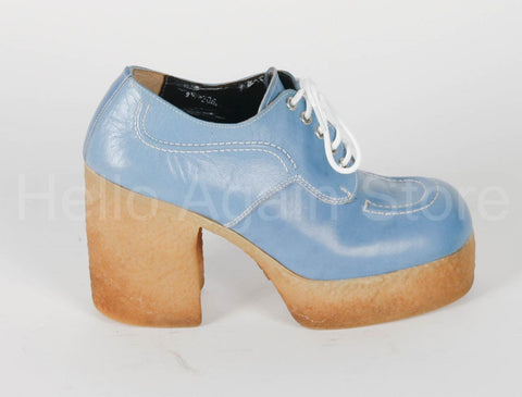 VINTAGE Men's Baby Blue Platform Shoes Size 9.5 Circa 1970
