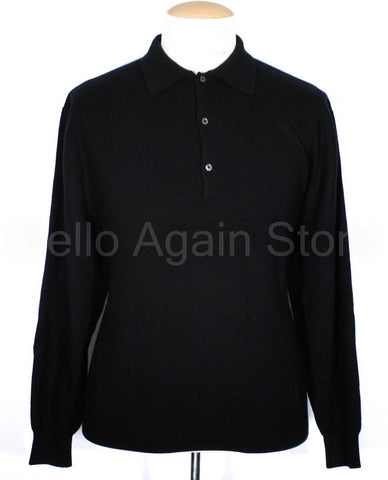 Men's Fairway & Greene Solid Black 100% Cashmere Long Sleeve Polo Size XL