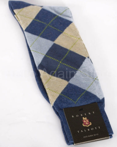 New Men's Robert Talbott Argyle Cotton Casual Sock One Size Retail $26.50