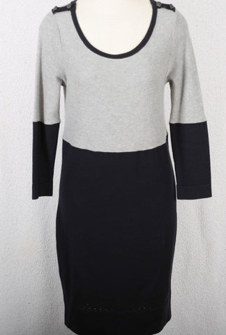 RAG & BONE NY grey and navy waffle knitdress size small