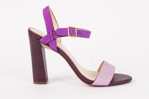 Pre-owned Cole Haan Minetta Purple Strappy Wedge Heel Size 7.5