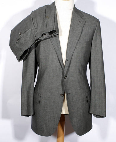 Men's Vintage Grey Nailhead Suit Ralph Lauren Blue Label 46 Long Made in Italy