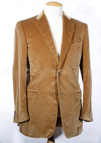 Men's Ermenegildo Zegna Gold Silk Skin Velvet Sport Coat Size 52 IT 42 US Long