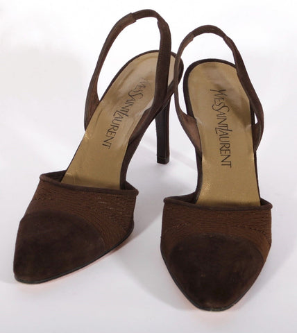 Pre-Owned Women's YSL Brown Grograin/Suede Heels Size 7 B