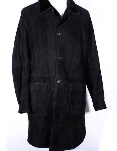 Men's Black Full Length GIMO'S Shearling Jacket Size 56 IT 44 US MSRP $2295