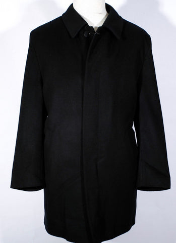 Men's Black Single Breasted ERES 100% Cashmere Overcoat Size 56 IT 46 US