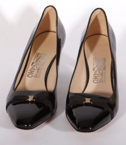 Pre-Owned Women's Ferragamo Black Patent Leather Heels Size 8 B