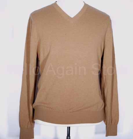 Men's Fairway & Green Tan 100% Cashmere V Neck Sweater Size XL