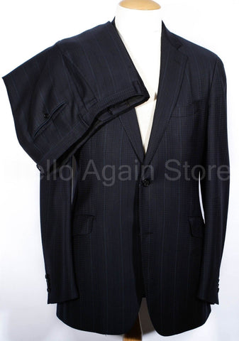 Men's ETRO Navy Blue Plaid Suit 56 Long IT 44 Long US