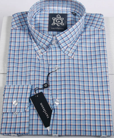 NEW Men's Turtleson Blue Button Down Check Shirt Size Medium Retail $115