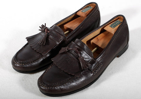 Used Men's Dark Brown Tassel Loafers Allen Edmonds Size 16 D