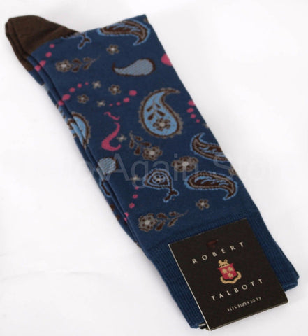 New Men's Robert Talbott Paisley Cotton Casual Sock One Size Retail $26.50