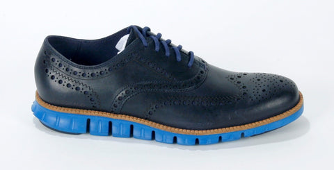 New Men's Cole Haan Navy Zerogrand Wingtip Size 8.5M Retail $270