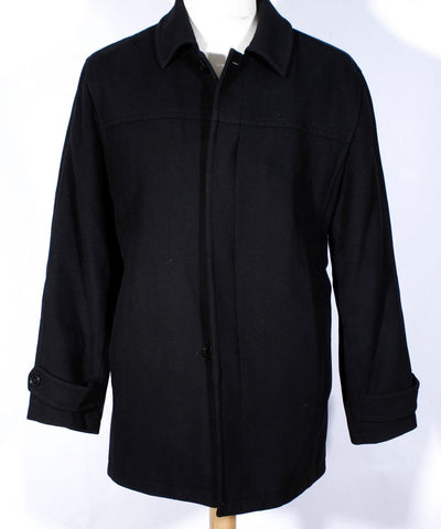 Men's Black Single Breasted Wool Blend Marc New York Overcoat Size Large