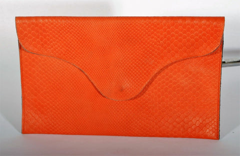 Women's Orange Boa J.J. Winters Blake Flap Clutch Purse MSRP $129