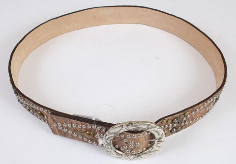 New Women's Leatherock Tan Leather and Metal Stud Belt Size 85cm Large 12 US 34""