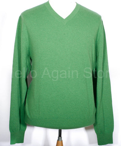 Men's Fairway & Greene Green 100% Cashmere V Neck Sweater Size XL