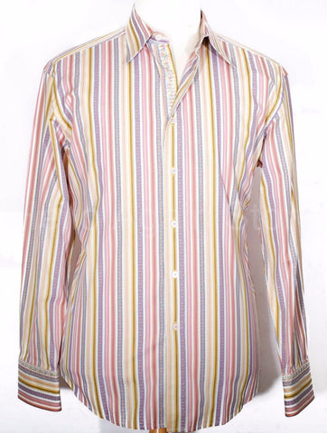 Men's ROBERT GRAHAM Multi Color Stripe Point Collar Shirt Size XL