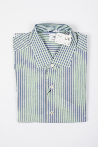 Culturata Men's Green Striped Button Down Shirt