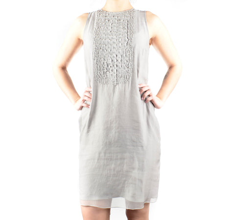 Sleeveless Grey 100% Silk Brunello Cucinelli Dress Size Small