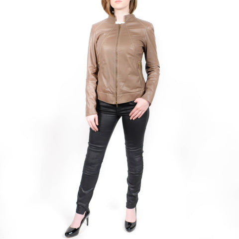 Suprema Leather Jacket Taupe Size: 6