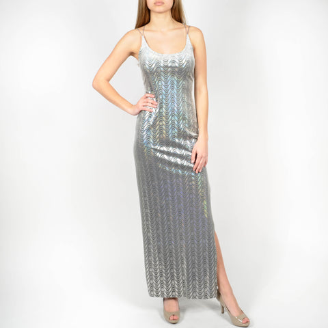 Frederick's of Hollywood Grey Holographic Dress