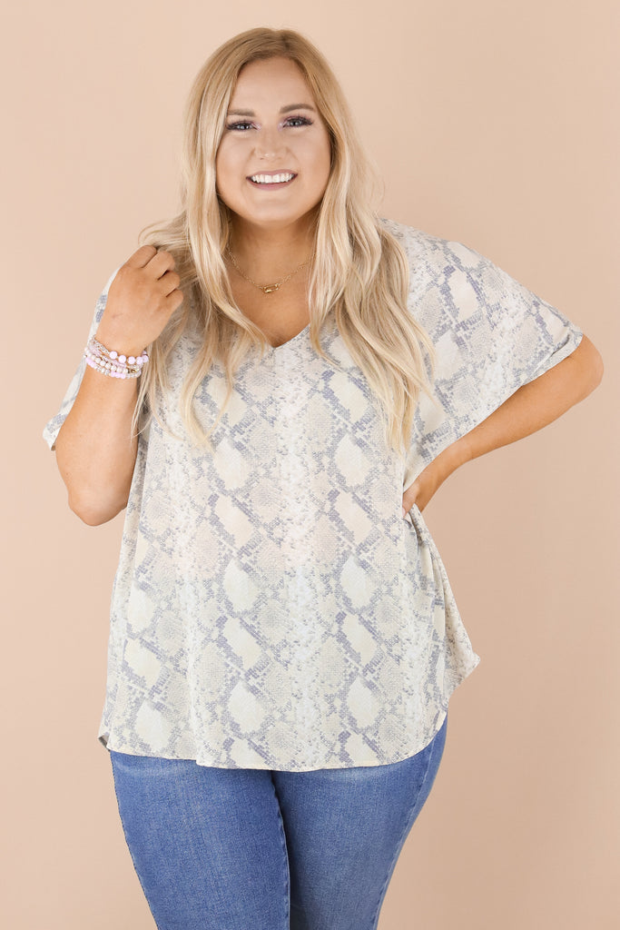 RESTOCK: CURVY: On The Right Snake Print Top