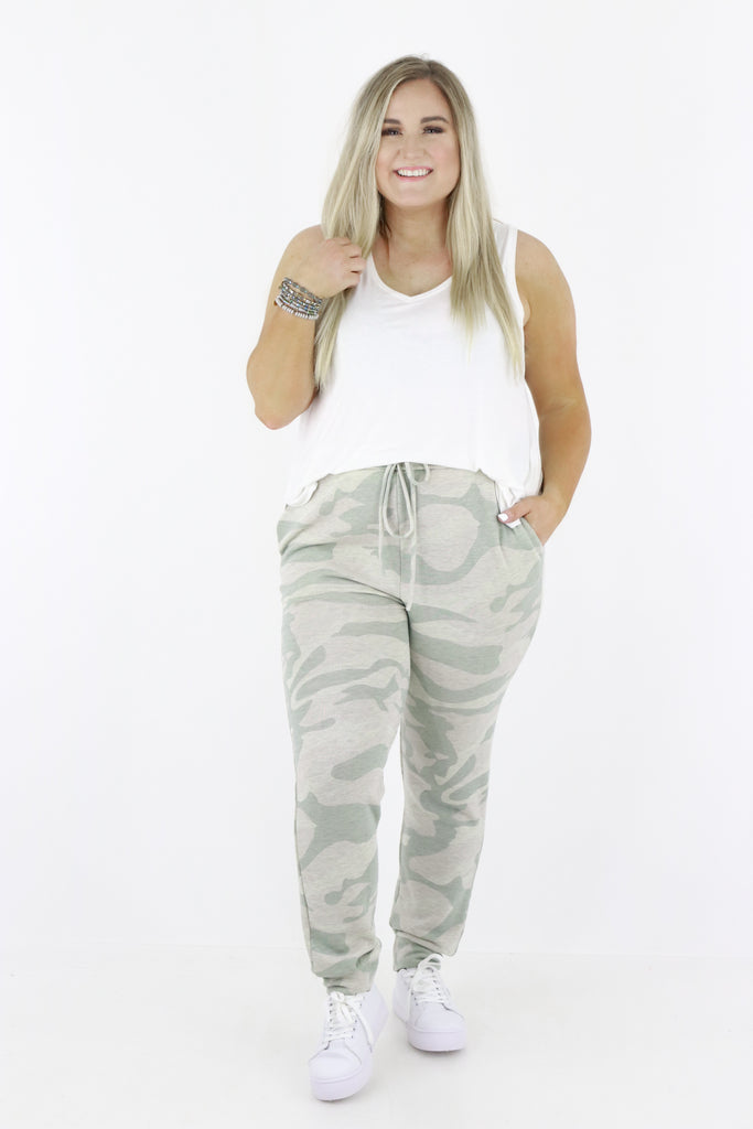 CURVY: Lounging Around Camouflage Joggers