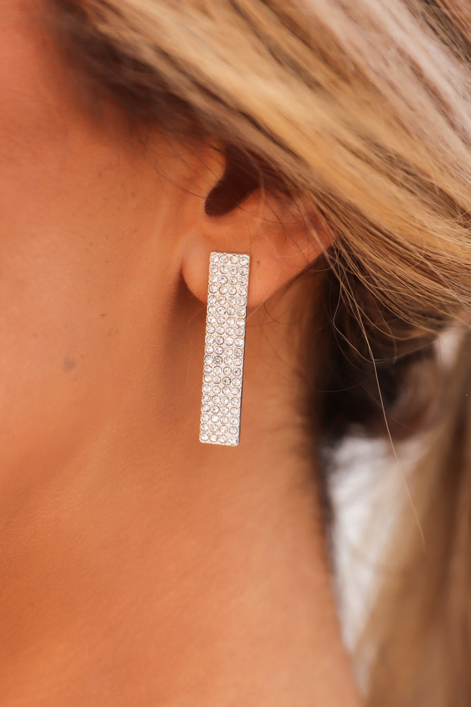 Rhinestone Rectangle Stud Earrings