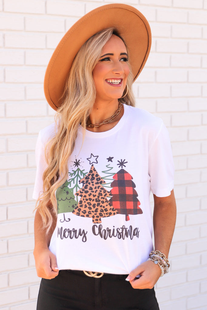 """Merry Christmas"" Tree Graphic Top"