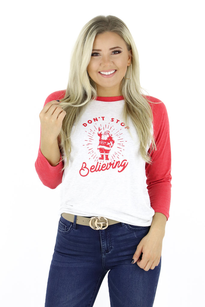 Don't Stop Believing Raglan Graphic Tee