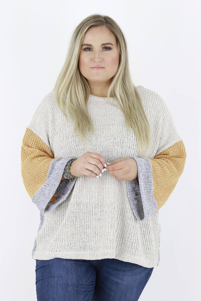 CURVY: When In Need Color Block Sweater