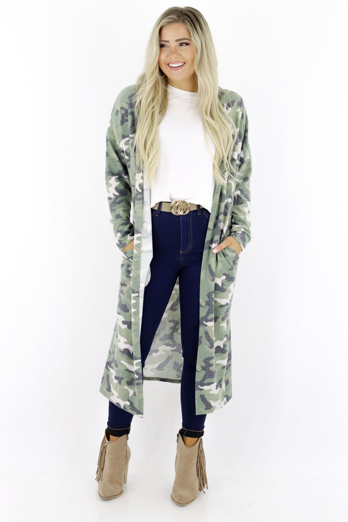 Stay In Touch Camouflage Cardigan