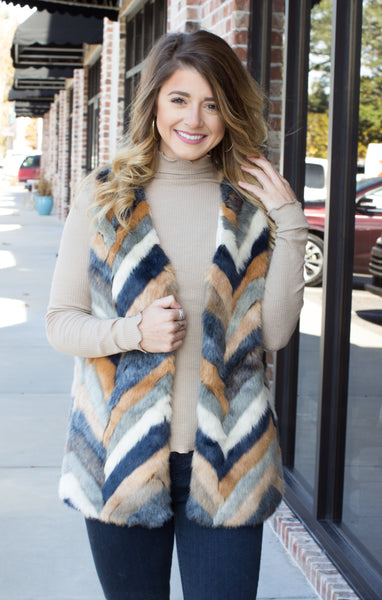 All I Could Want Faux Fur Chevron Vest: Teal