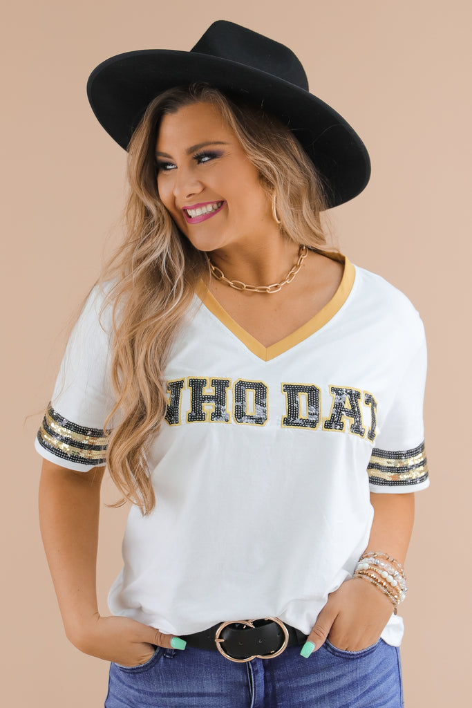 RESTOCK: Who Dat Sequin Game Day Top