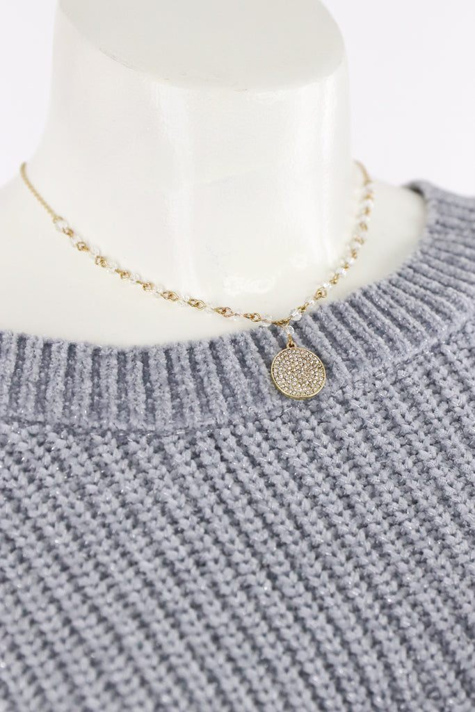 Paved Round Beaded Necklace