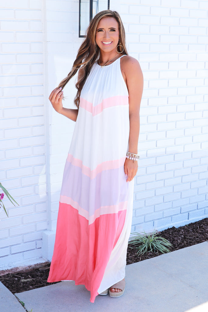 Keep Up Appearances Color Block Maxi Dress