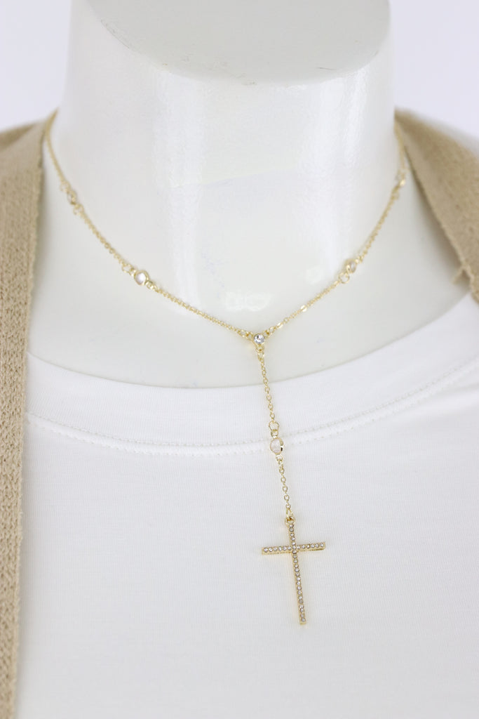 Pave Cross Y Necklace